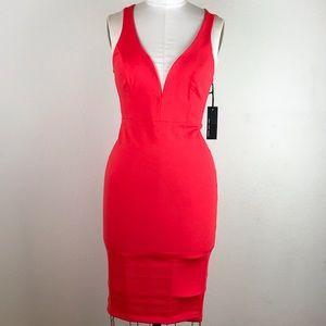 LULU'S Red Strappy  Bodycon Midi Dress Size L